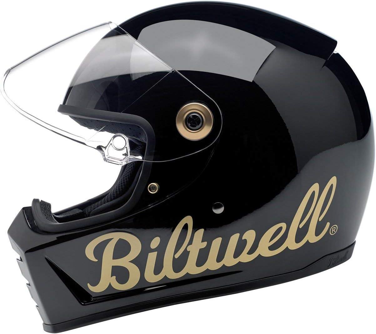 XL Biltwell Lane Splitter Gloss Black Factory Gold Motorrad Helm