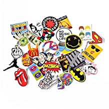 NAVAdeal Assorted 30 Pack Rock N Roll Music Band Vinyl Suitcase Skateboard Laptop Car Bumper Stickers