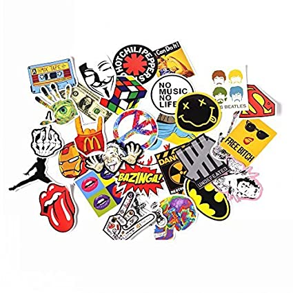 Navadeal assorted 30 pack rock n roll music band vinyl suitcase skateboard laptop car bumper stickers