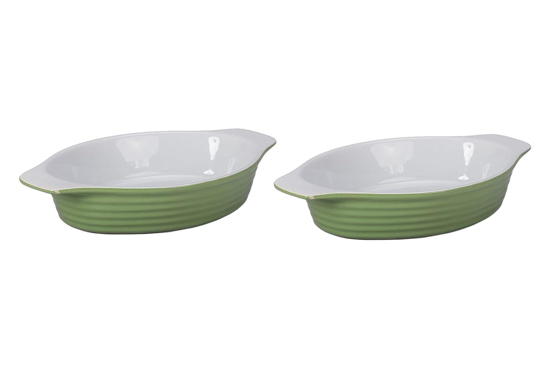 BIA Cordon Bleu 404988+3132S2SIOC Au Gratin Porcelain Baking Dish, Large, Grass Green/White