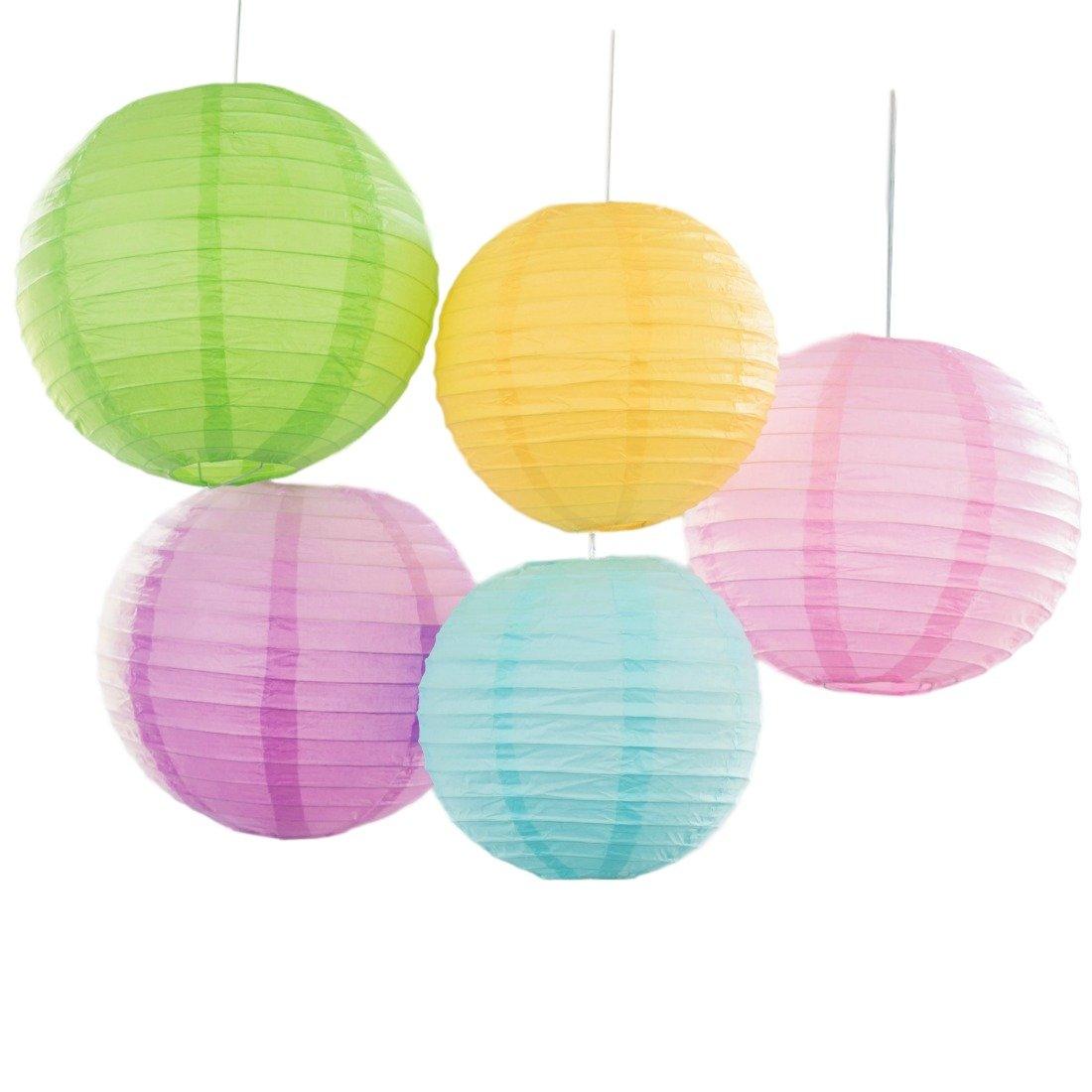 Bobee Pastel Paper Lantern Decorations, Assorted Sizes Pink Green Yellow Blue Purple Paper Lanterns