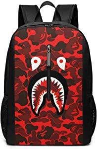 Bape Shark Face Red Camo Backpack 17 Inch Large Laptop Backpack Big Bookbag