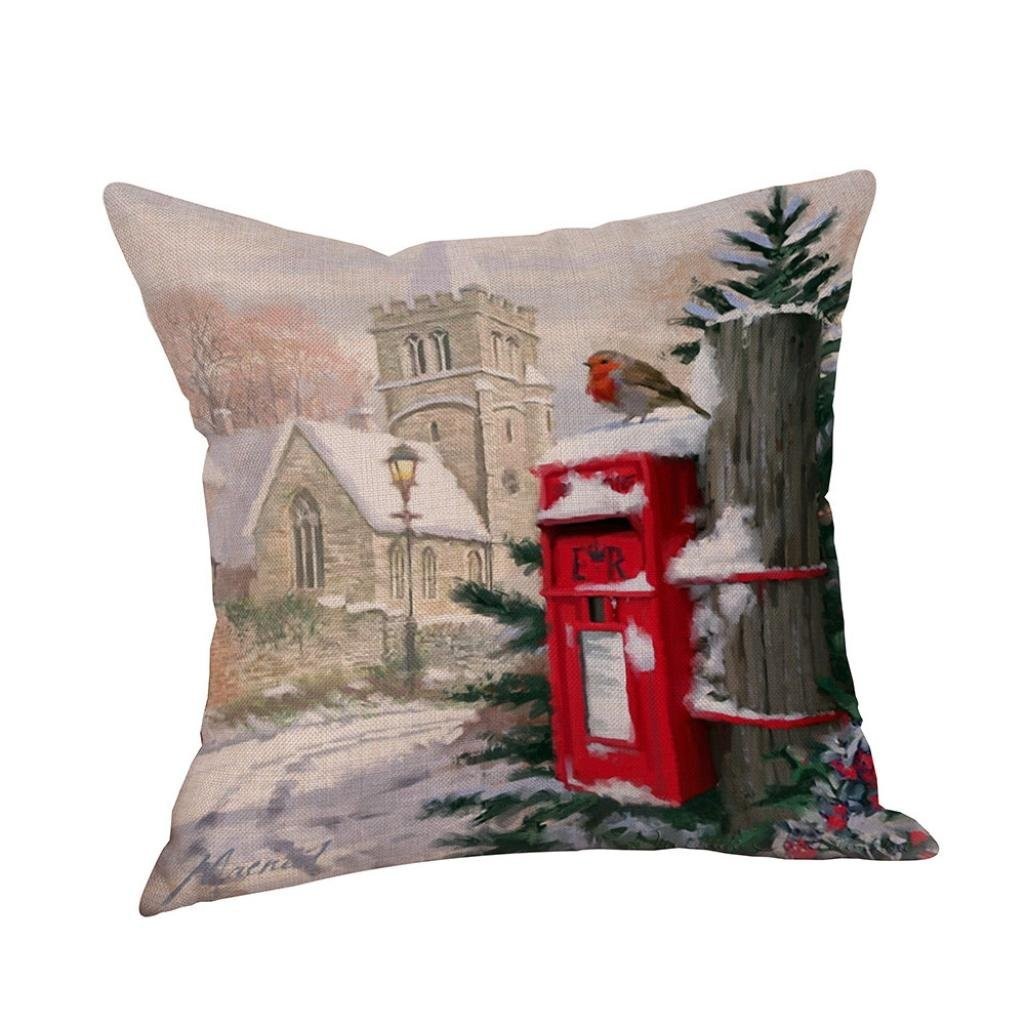 Corsion Lights Christmas Pillow LED Lights Pillows Covers Couch Sofa, Decorative Home Sofa Bedding Couch 18 x 18 45cm x 45cm (A)