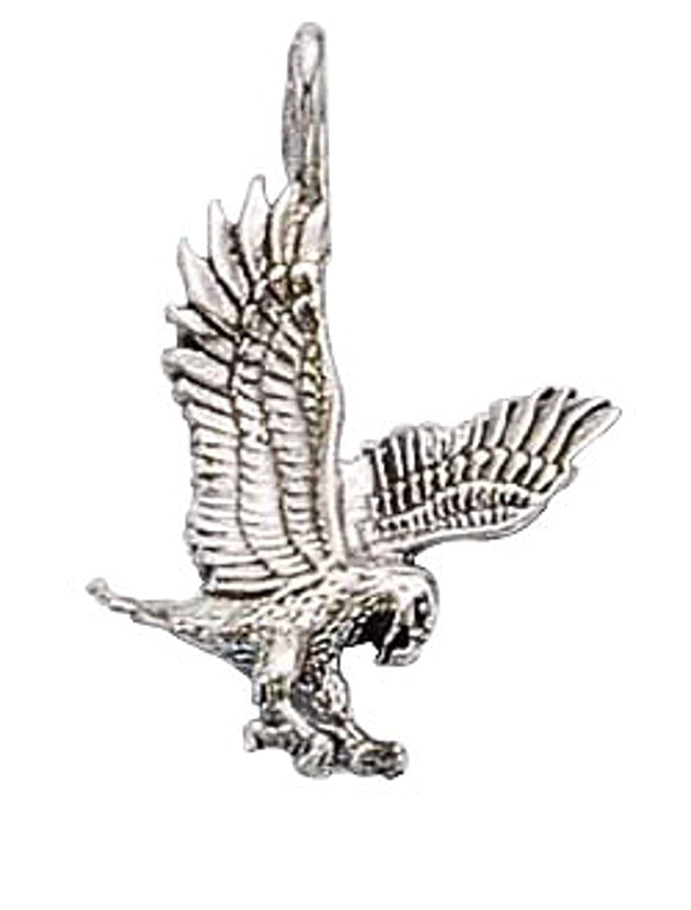 Sterling Silver Womens 1mm Box Chain Small Flying Eagle Pendant Necklace