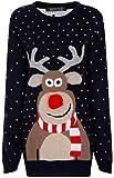 Fashion Factor - Damen Weihnachten Neuheit Pullover Top Rudolf Das Rentier