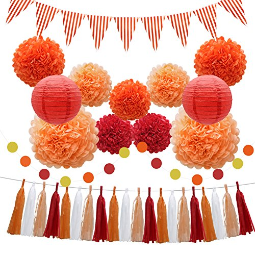 33pcs Party Decorations Supplies Set, Paper Lanterns Tissue Pom Poms Flowers Tassels Hanging Garland Banner Triangle Flag Bunting for Birthday, Baby Shower, Wedding Graduation Events (Orange, Red) ()