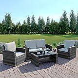 New Algarve Rattan Wicker Weave Garden Furniture Patio Conservatory Sofa Set (Mix Tone Grey with Light Cushions)