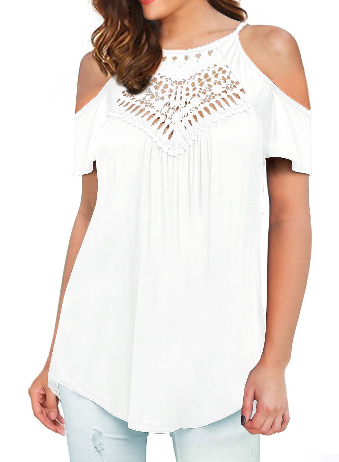 MIHOLL Womens Summer Casual Short Sleeve Tops Lace Flowy Loose Shirts Tank Tops (Z- White, Small)