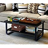 Mordern Large Coffee Table with Lower Storage Shelf for Living Room, 48 x 24 (Black)