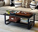 Black Coffee Table with Storage Mordern Large Coffee Table with Lower Storage Shelf for Living Room, 48