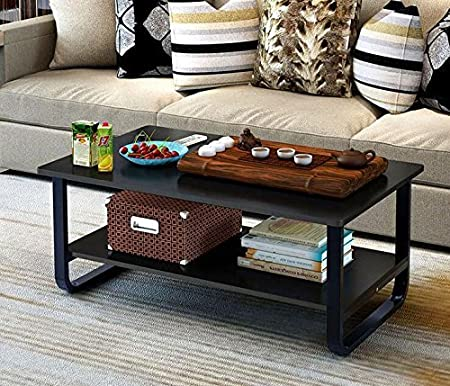 Mordern Large Coffee Table With Lower Storage Shelf For Living Room, 48u2033 X  24u2033 (Black) By Alice