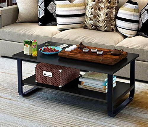 Mordern Large Coffee Table with Lower Storage Shelf for Living Room, 48