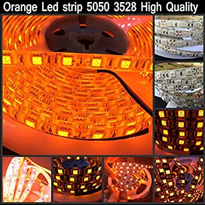 LED4Everything (TM) Orange 5M 16.4ft 12v SMD 5050 IP65 Waterproof 300 LED Flexible Tape Strip Christmas Halloween Decoration Light