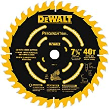 "DEWALT DW7114PT DEWALT DW7114PT 40T Precision Trim Miter Saw Blade, 7-1/4"""