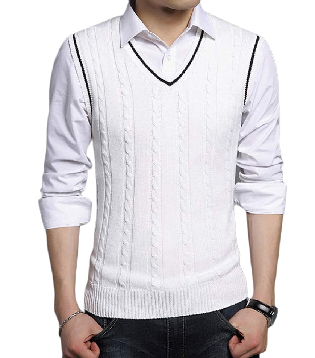 Winwinus Mens Comfort Big and Tall V-Neck Vest Cable Knit Pullover Sweater