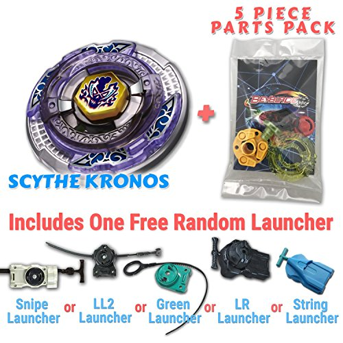 Scythe Kronos BB-113 Beyblade Starter Set Includes Free Gifts - 1 Launcher, 1 Random Stats Card, & 5 Piece Beyblade Parts Pack - All from Metal Fusion, Metal Fury, & Metal Masters Series (Random 1 Pack)