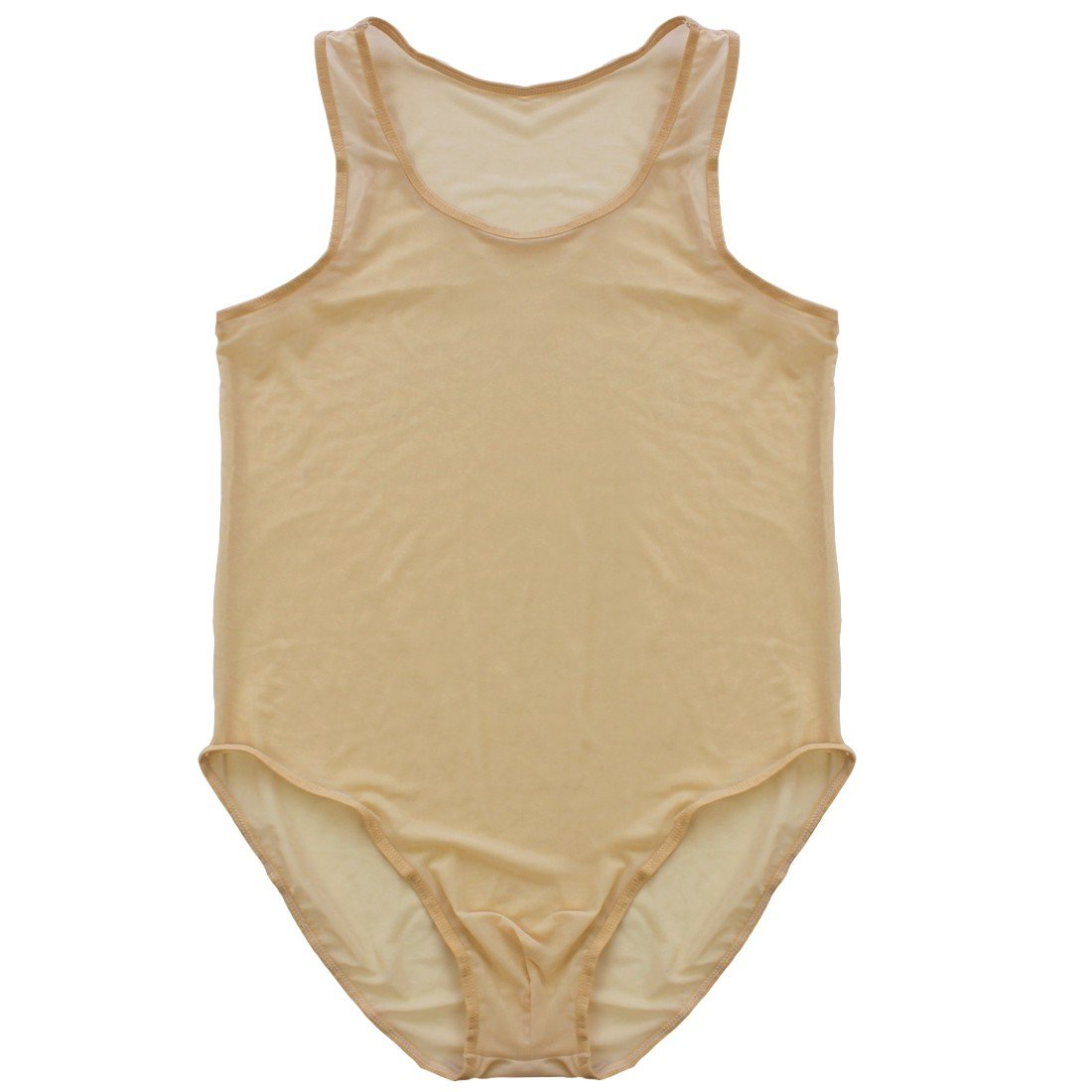 iEFiEL Men Soft Mesh Leotard Bodywear Brief Vest Underwear Wrestling Singlet Nightwear Nude Large