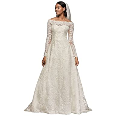 bfc1d735736 Petite Off-The-Shoulder Lace A-Line Wedding Dress Style 7CWG765 ...