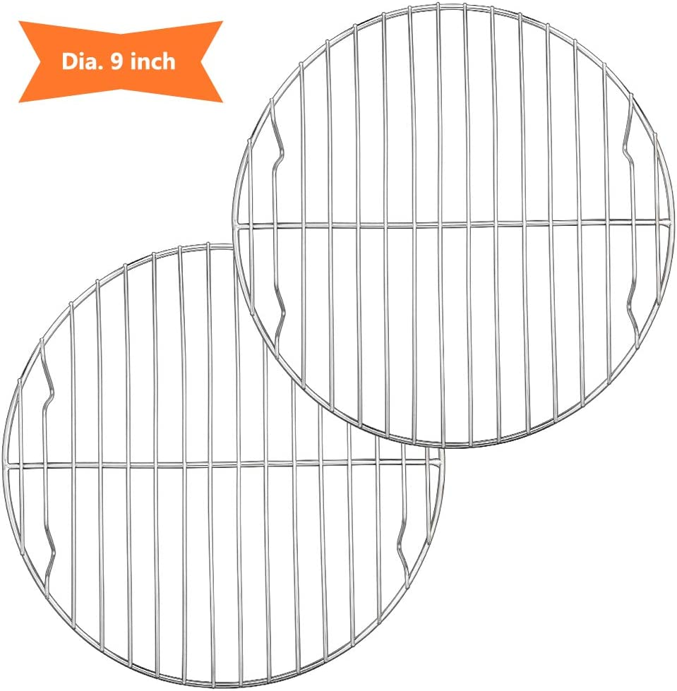 9 Inch Round Canning Steaming Racks, E-far Stainless Steel Round Baking Cooling Rack Set of 2, Multi-Purpose for Air Fryer Instant Pot Pressure Cooker, Dishwasher Safe