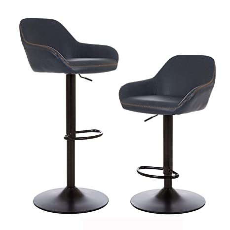 Fabulous Glitzhome Mid Century Style Adjustable Swivel Bar Stool With Back Support Leatherette Dining Chairs Dark Blue Set Of 2 Ncnpc Chair Design For Home Ncnpcorg