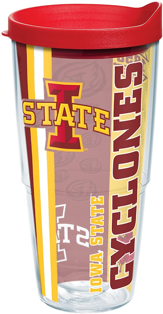 Clear Tervis 1220481 Iowa State Cyclones College Pride Tumbler with Wrap and Red Lid 24oz
