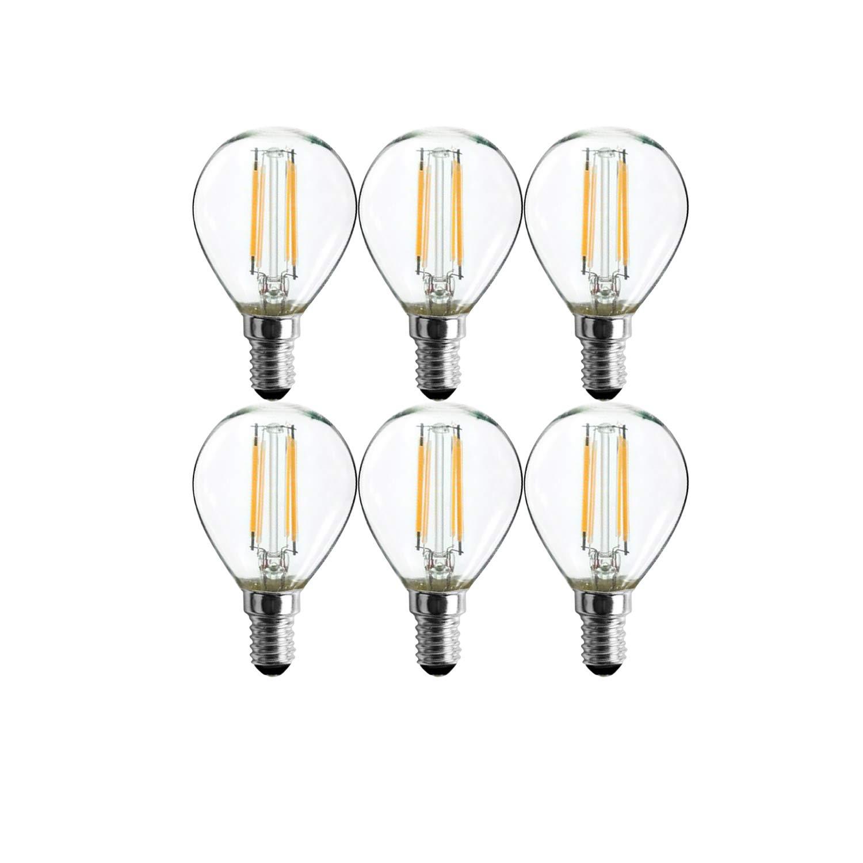 Sunlite 40961 LED G16.5 Filament Light Bulb 3-Watt (40W Equivalent), Dimmable Globe Lightbulb, 6 Pack, 50K-Super White