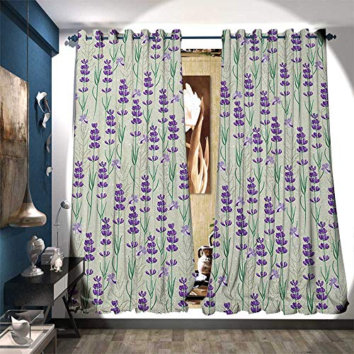 BlountDecor Patterned Drape for Glass Door Botanical Pattern with Fresh Herbs Aromatherapy Spa Theme Customized Curtains W96 x L108 Pale Sage Green Violet and Green - Sage Glass Bronze