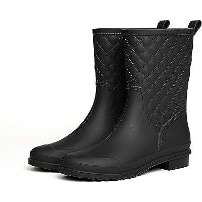 CHORADE Womens Black Mid Calf Rain Boots Outdoor Work Waterproof Garden Booties Wide Calf Rain Shoes | Mid-Calf