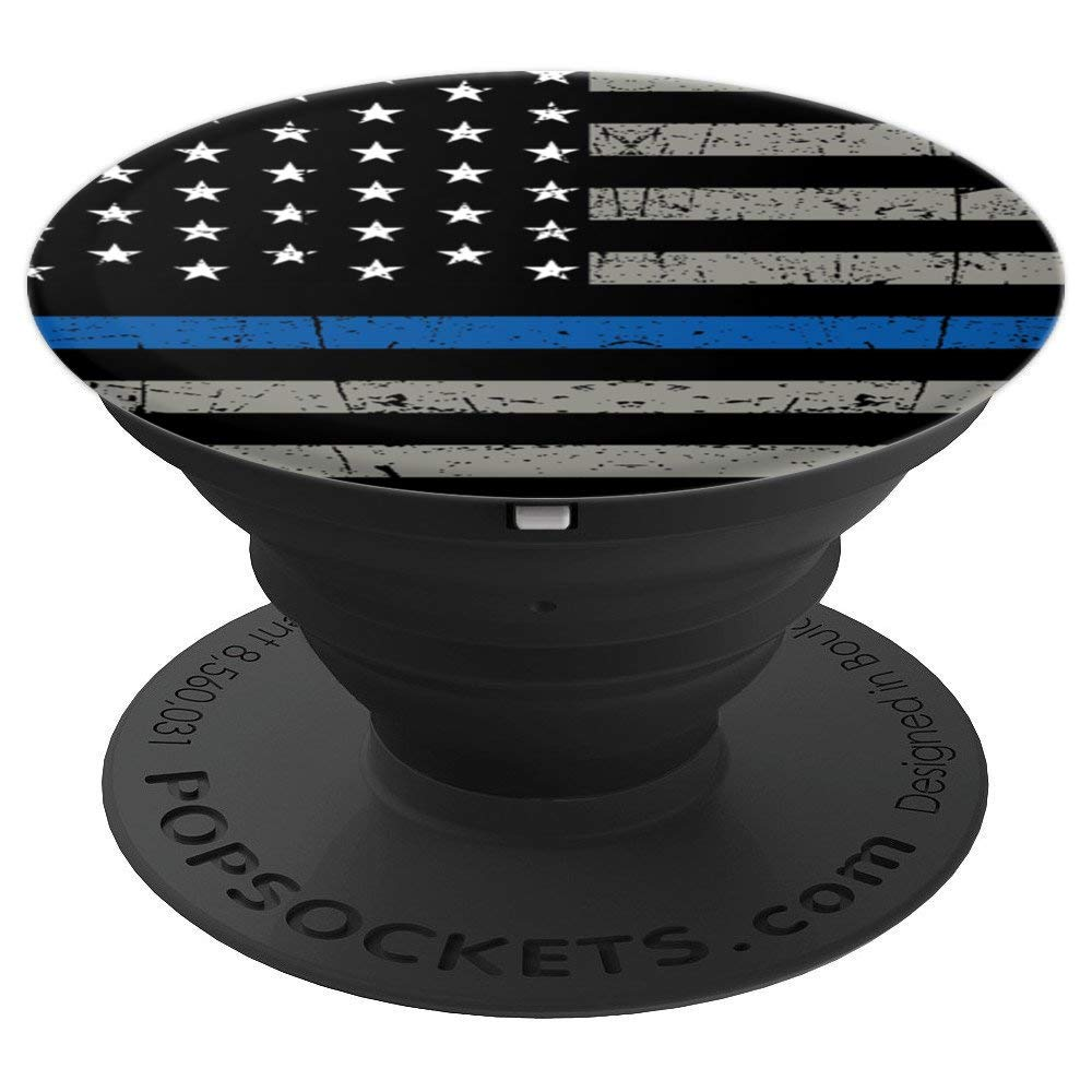 ''PopSockets Cell Phone Stands - Smartphones & Tablets - ''''Brave New Look Thin Blue Line - Police Off - PopSockets Grip and Stand for Phones and Tablets by Brave New Look