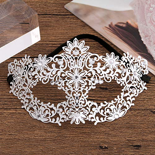 (Halloween Metal Filigree Masquerade Mask Slim Openwork Diamonds Lady Half Face Princess Sexy Mask Venice Ball Bar Dance Party Cosplay Props White (Color :)