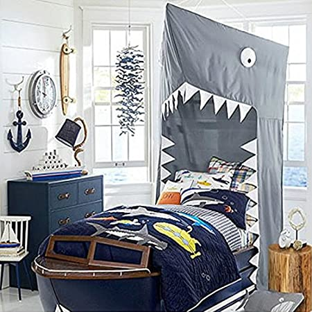 Kids Cotton Bed Canopy BIG SHARK Cotton Bed canopy, COOL