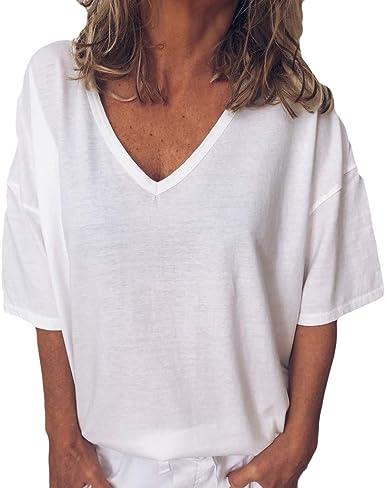 Berimaterry Mujer Casual Camiseta Manga Corta Sin Tirantes Verano Estampado de Plumas Suelto T-Shirt Tops Mujeres Pullover Casual Camisa Cuello V Blusa Rayadas Patchwork Elástico Tops Bluas: Amazon.es: Ropa y accesorios