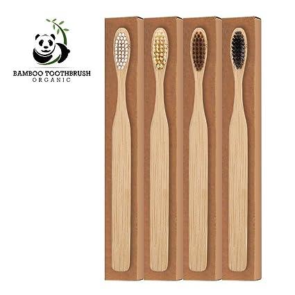 Cepillo de dientes de bambú para niños y adultos, 100% natural, sin BPA