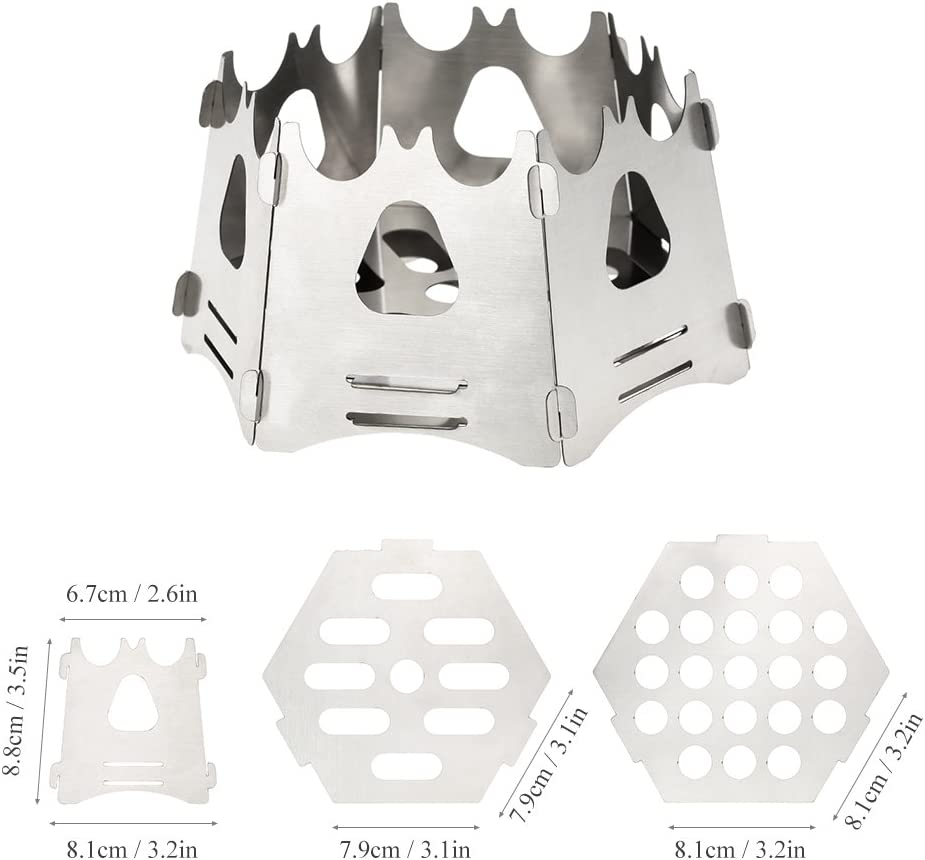 Lixada Hexagon Camping Wood Stove//Portable Folding Lightweight Wood Burning Stove for Outdoor Survival Cooking Picnic Hunting.