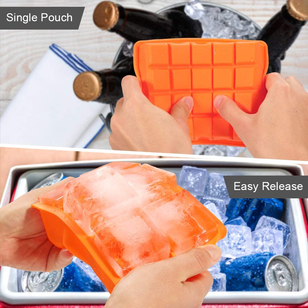 2 Pack Silicone Ice Cube Moulds 6+20 Large /& Small Ice Cubes BPA Free Reusable Large Square Molds for Freezer Water Cocktail Ice Cube Trays Baby Food
