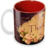 Tuelip Beautiful Printed Thank You Ceramic Tea and Coffee Ceramic Mug, 350ml, Multicolour