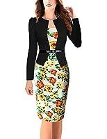 Minetom Donna Elegante Falso Due Disegno Lunghe Manica Vestiti Magra Vestito Avvolgere Hip Stampa Sundress