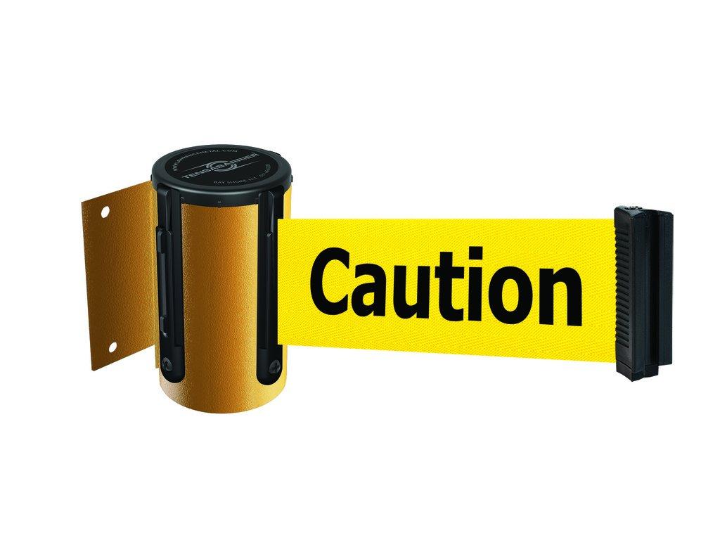 Tensabarrier 896-STD-35-MAX-NO-YAX-C Standard Wall Mount, No Custom Yellow Webbing/Black ''Caution - Do Not Enter'' Standard Belt End, Maximum 13', Yellow
