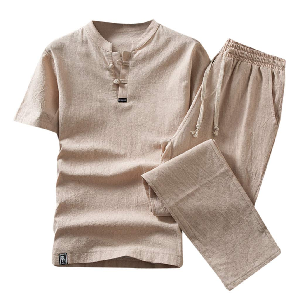 Mens Pajamas Set 2 Piece Short Sleeve T Shirt Nightwear Summer Cotton Linen Beach Yoga Loungewear Suit