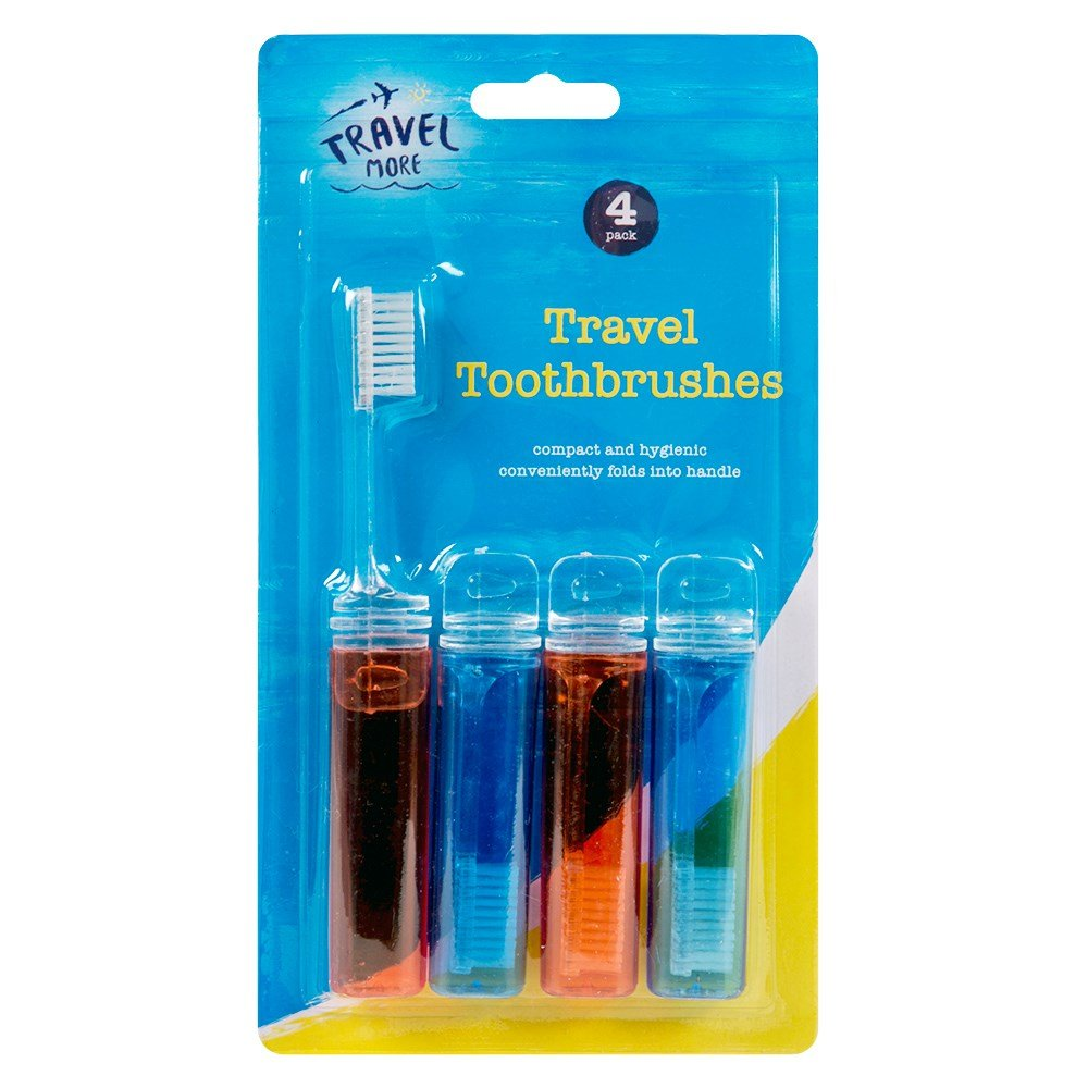 4 Travel Toothbrushes Fold Up Foldable Toothbrush Holiday Red Blue Compact by blueskies A-00415