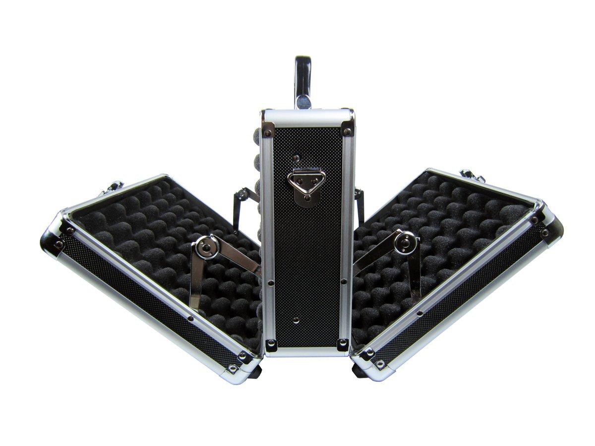 Common Sense Cases Deuce Premium Aluminum Double Door Multi Pistol Case, Black/Silver CASE-1013-BLK-F