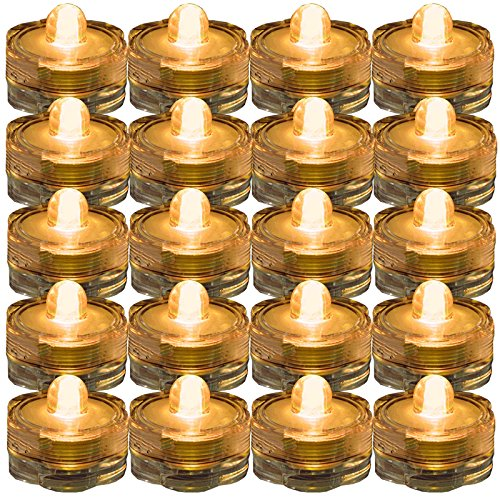 SUPER Bright LED Floral Tea Light Submersible Lights For Party Wedding (Amber, 20 Pack)