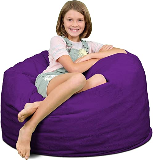 ULTIMATE SACK Bean Bag Chairs in Multiple Sizes and Colors Giant Foam-Filled Furniture – Machine Washable Covers, Double Stitched Seams, Durable Inner Liner. 3000, Purple Suede
