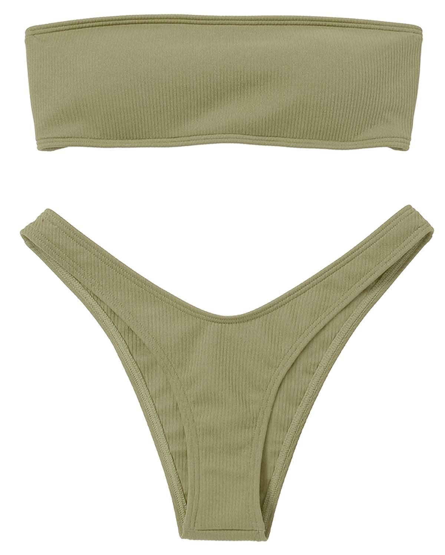 b8c9ec388cf Amazon.com: ZAFUL Women Bandeau Bikini Set Swimsuit Leopard Print High Cut Swimwear  Bathing Suits: Clothing