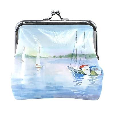 4f136eb911 Amazon.com: Blue Viper Watercolor Sailing Boat On The Leather Coin ...