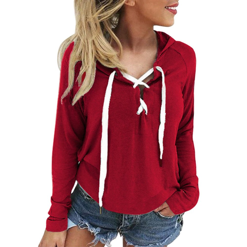 DEELIN Women Ladies V Neck Sexy Bandage Belted Sexy Long Sleeve Hoodie Sweatshirt Lace Up Crop Top Coat Sports Hooded Pullover Tops ❤Good for Summer Autumn and Winter