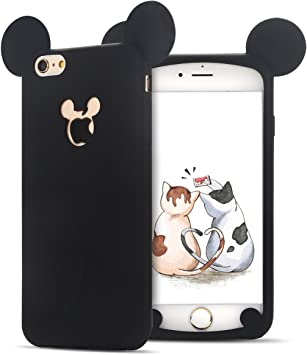 SpiritSun Coque iPhone 6 Plus, Coque iPhone 6S Plus, Mignonne Style Ultra Fine TPU Etui Housse avec Oreilles de Souris Souple Silicone Gel Etui Coque ...
