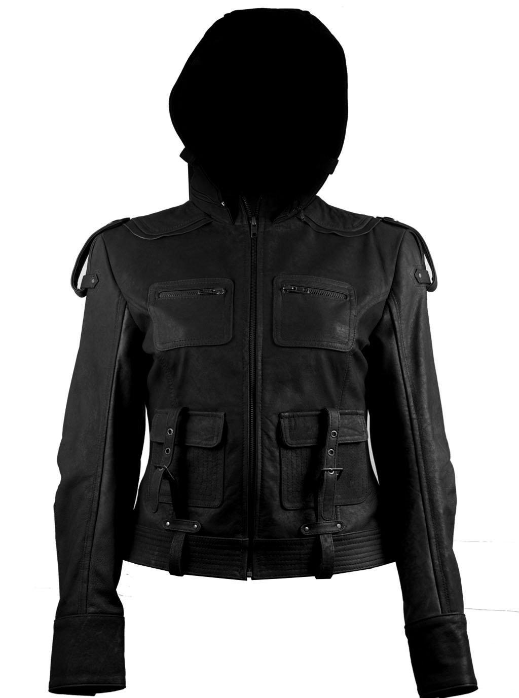 FactoryExtreme Panama Hoodie Womens Black Leather Jacket, XXX-Large, Black