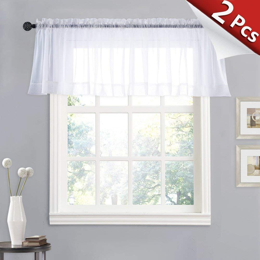 Valances Window Treatments RYB HOME Bedroom Sheer Curtain Valances Window Treatment White Tier Drapes  for Small Window-Kitchen, Wide 60 x Long 20 inch Per Panel, Sold as 2 Pieces