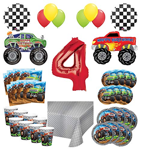 Mayflower Products Monster Truck Rally 4th Birthday Party Supplies 16 Guest Decoration Kit with Green and Red Monster Truck Balloon Bouquet -